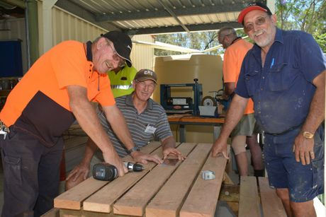 MEN'S SHED: John Forster, Allan Sheppard and Darryl Wright digging in to get the job done before the end of the month. Photo Kate Darvall/ South Burnett Times