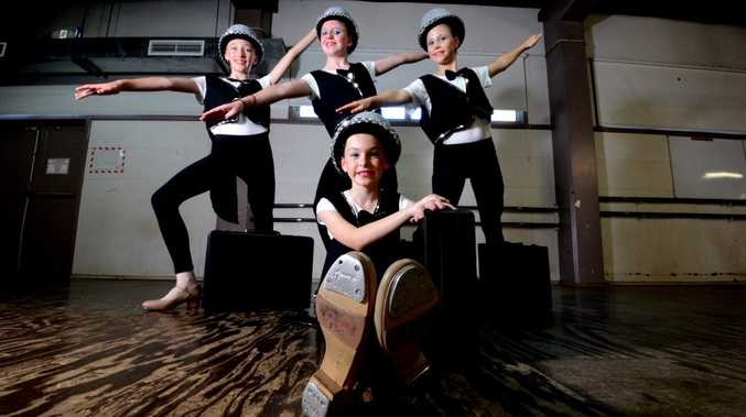 Dancers from the Sharon Sidney School of Dance, front Jacinta McDonald, from back left, Aleesa Hurst, Sapphire Gibson, and Pearl Ihalainen. Photo Cathy Adams / The Northern Star