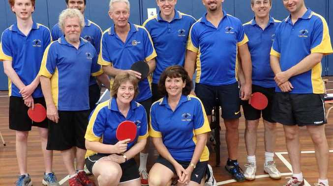 BORDER FORCE: The Lismore team that took out the 2015 Table Tennis Border Challenge at Armidale at the weekend: Back row from left, Ethan Wakely, Jeremy Berghan, Peter McKenzie, Col Gradwell, Sid McDonald, Tony Coronakes, Henning Hansen, Dan Cox; front, Ruth Woodhams, Marianne Dengate.