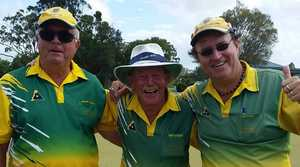 TRIPLE TREAT: The Evans Head team of John McEvoy, Jack Kingman and Steve Cselka after winning the NRDBA champion of champion triples played on South Lismore greens at the weekend. The team progresses to the zone finals.