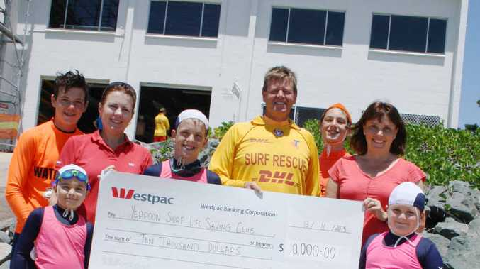 FUNDING: Kerry Hayes (Westpac Yeppoon Bank Manager), Mark Gwynne (President), Kylie (Grant Writing officer) and Nippers