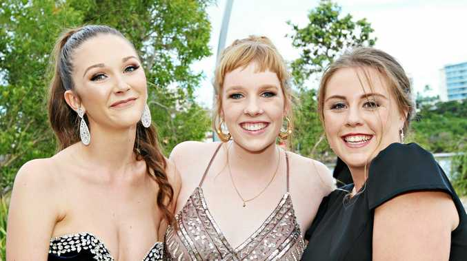 FUN TIMES: Jaimi Dent, Jasmine Camp and Jordyn Gray from St Joseph's College enjoying their formal.