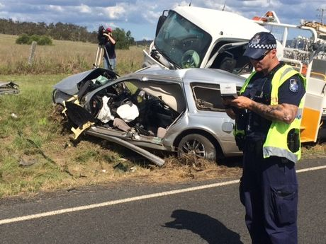 One person was killed when a truck collided with this car at Vale View, just south of Toowoomba.