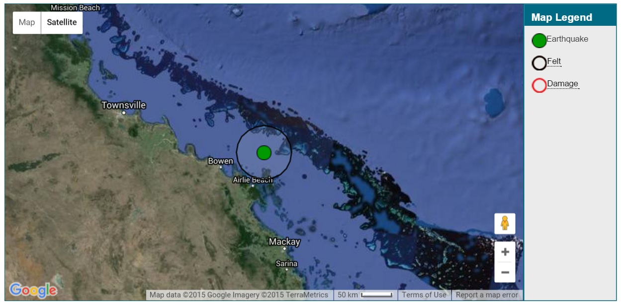 Geoscience Australia has reported an earthquake off Hayman Island