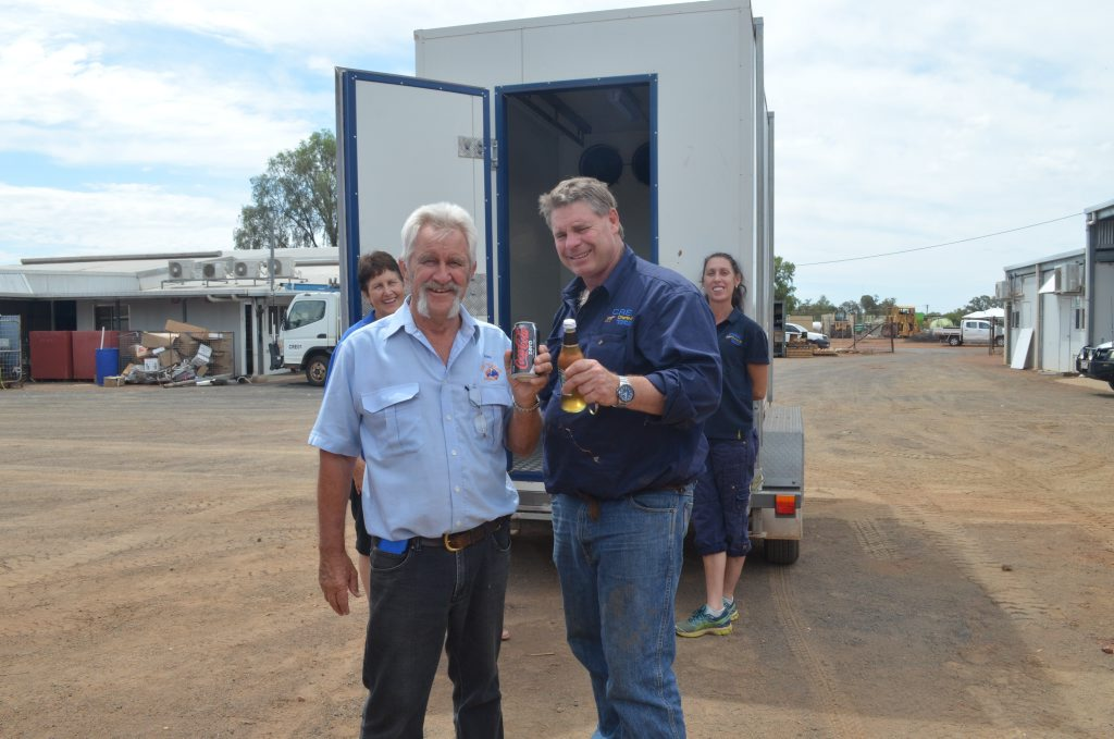 John and Lyndal Worrell from Care Outreach were donated this new ice cold cooler by Randall and Katherine Beale. Photo Andrew Messenger / Western Times