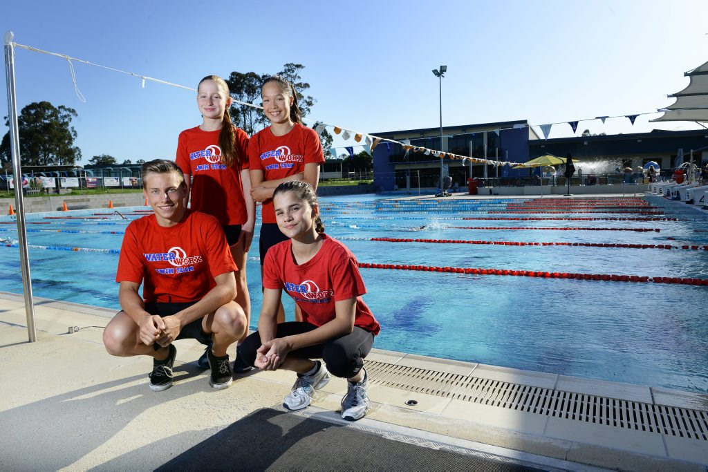 Pacific School Games-bound Waterworx swimmers Ryan Smith, Jacinta Ticehurst, Mollie O'Callaghan and Hazel Hogan.