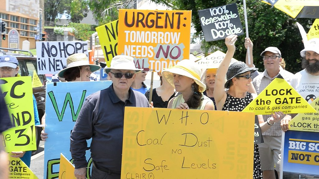 Protesters outside the New Hope Group AGM. Photo: Rob Williams / The Queensland Times