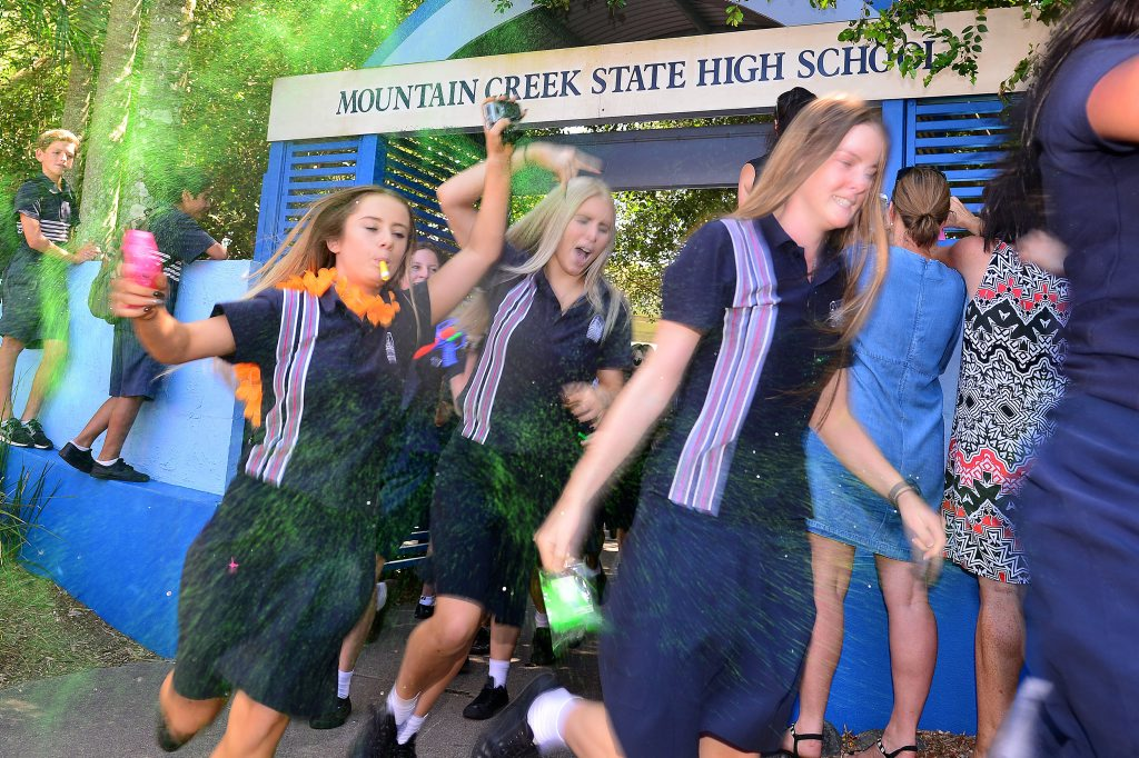 Year 12 students of Mountain Creek High celebrate the end of school. Photo: John McCutcheon / Sunshine Coast Daily