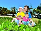 Shannon, Zara, 4 and Annika Schleusener at Cotton Tree Caravan Park after receiving a donation from the park managers through Camp Quality. Photo: John McCutcheon / Sunshine Coast Daily