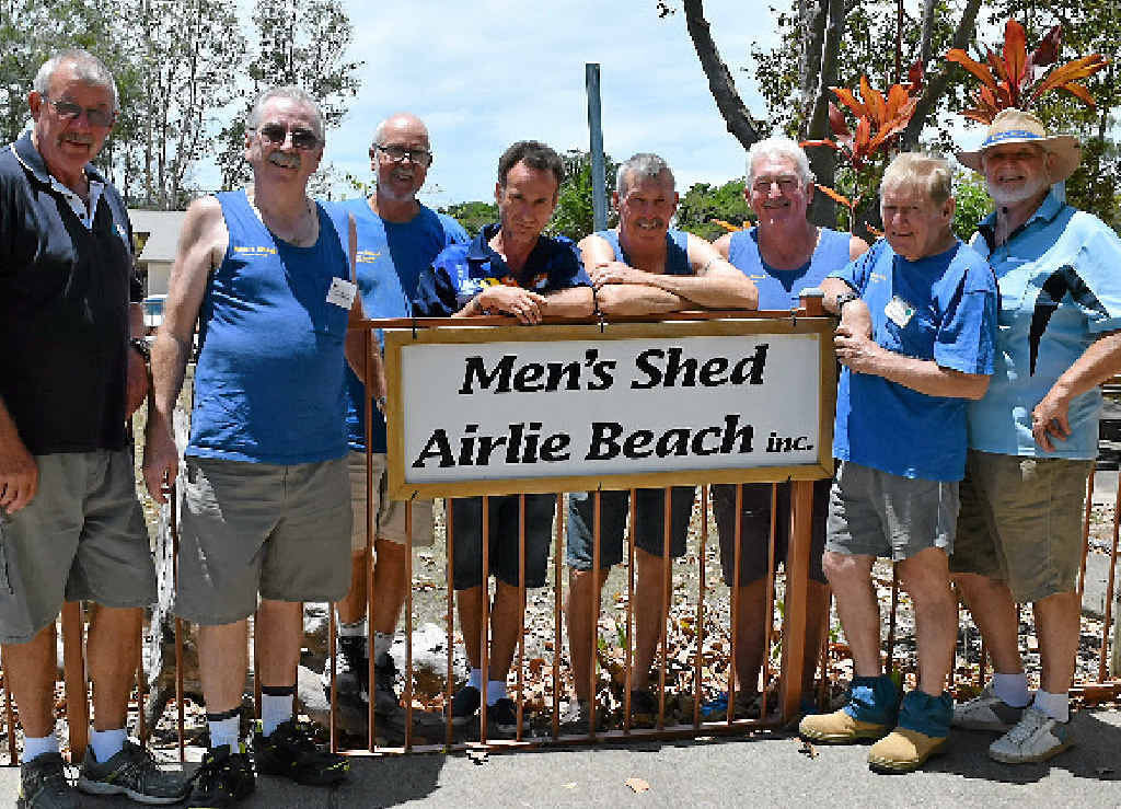 MOVERS AND SHAKERS: Greg Slough, Col Metcalfe, Steve Stokes, Steve Shaw, Rod Wilson, Bob Beale, Peter Lanser and Norm Hore from Men's Shed. Photo: Kathryn Cygan