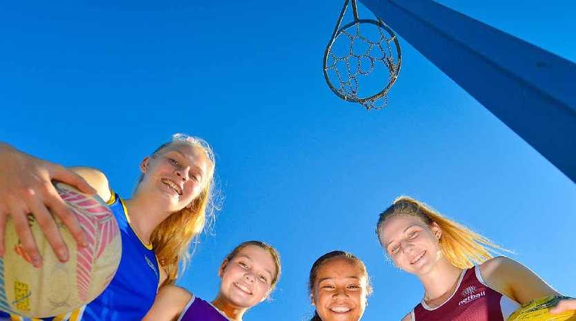 Yasmin Ramsay 16, Suskia Paitai, 14, Lily Peachey, 14 and Sharni Small 15, are off to Netball Queensland regional academy.