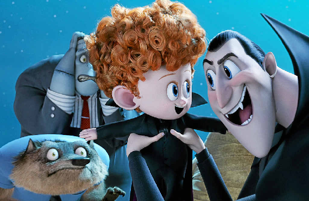 The characters Dennis and Dracula with Wayne and Frank in a scene from Hotel Transylvania 2.
