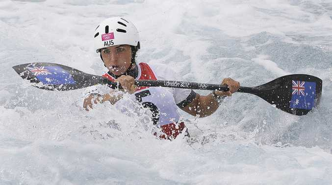 Jessica Fox competes in the K1 final at the 2012 London Games Gold at the Lee Valley White Water Centre. Photo: EPA/DIEGO AZUBEL