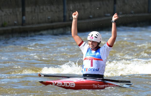 Jessica Fox wins the first of three successive C1 world titles in 2013 in Prague.