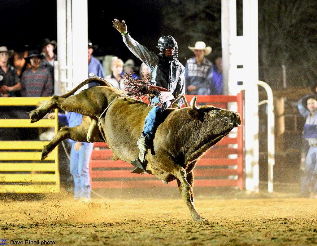 Justin Paton competing at Sarina Show Rodeo.