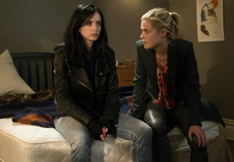 Krysten Ritter and Rachael Taylor in a scene from the Netflix TV series Jessica Jones.