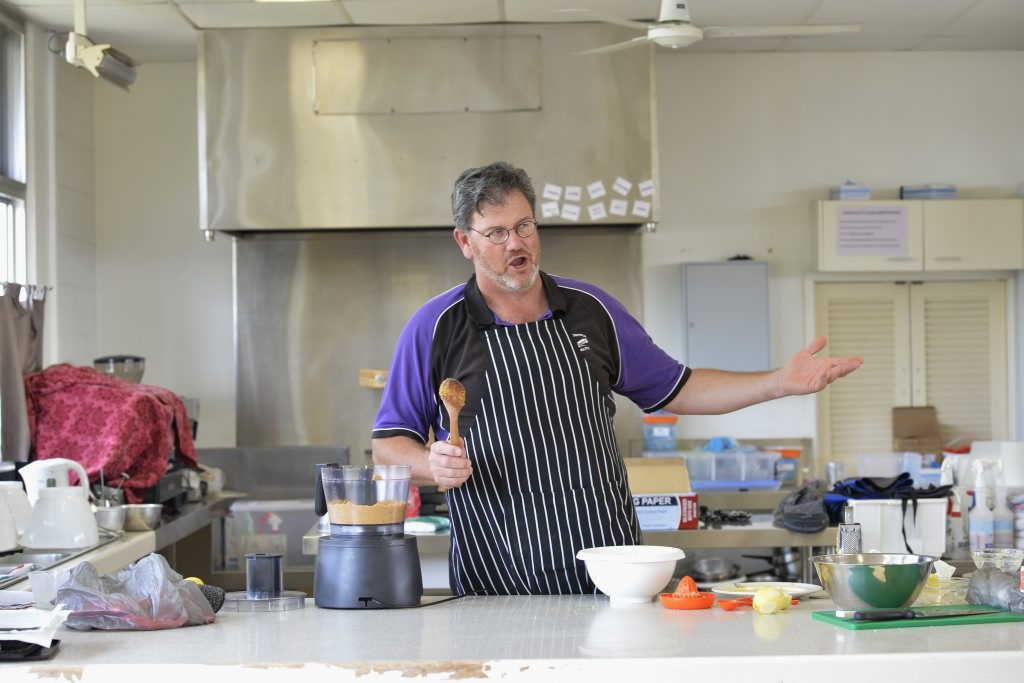 SINGING TEACHER: Students in Harristown High School hospitality classes learn from a teacher who has a song in his heart. Apart from greeting his studetns with a song, Robert Williams has started his own opera company, Toowoomba Opera Players. Photo Bev Lacey / The Chronicle