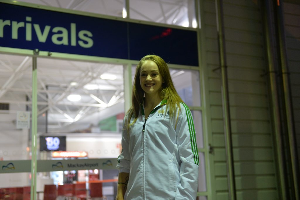 Larrissa Miller at Mackay Airport, after returning from the World Championships. P