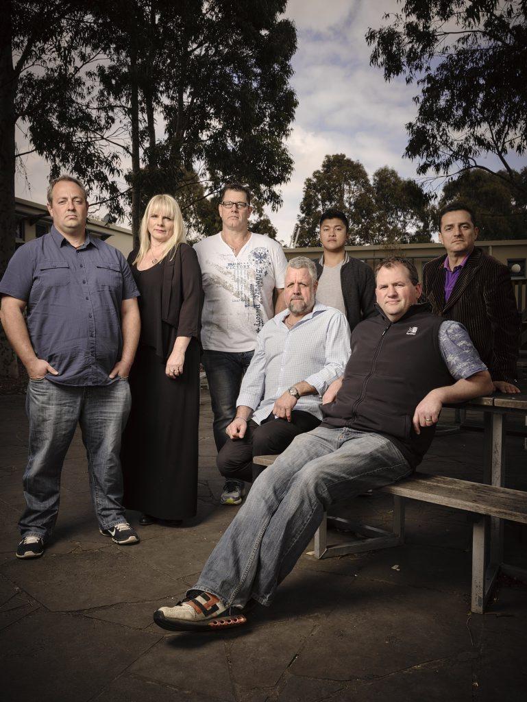 The cast of Call Me Dad (from left) Oscar, counsellor Jacqui Seamark, counsellor David Nugent, Ken, Micah and Sasko.