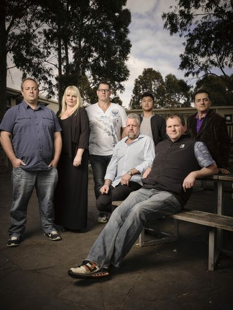 The cast of Call Me Dad (from left) Oscar, counsellor Jacqui Seamark, counsellor David Nugent, Ken, Micah and Sasko.