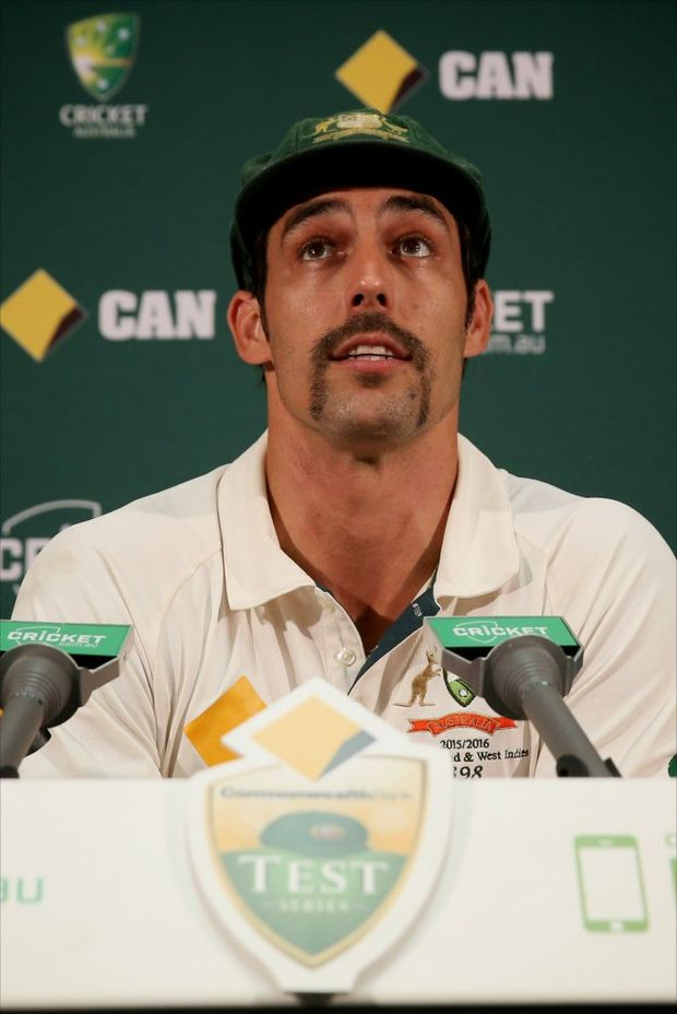 Mitchell Johnson speak during his retirement announcement. Photo: AAP Image