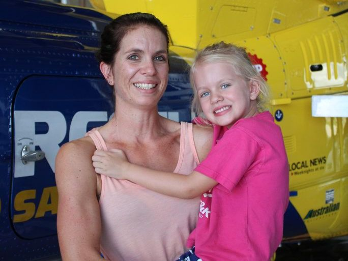 Cara Weller and her daughter Miley, 4, visited the RACQ CQ Rescue hangar yesterday on excursion with a group from Walkerston C and K. Cara was airlifted by CQ Rescue when she broke her back 15 years ago.