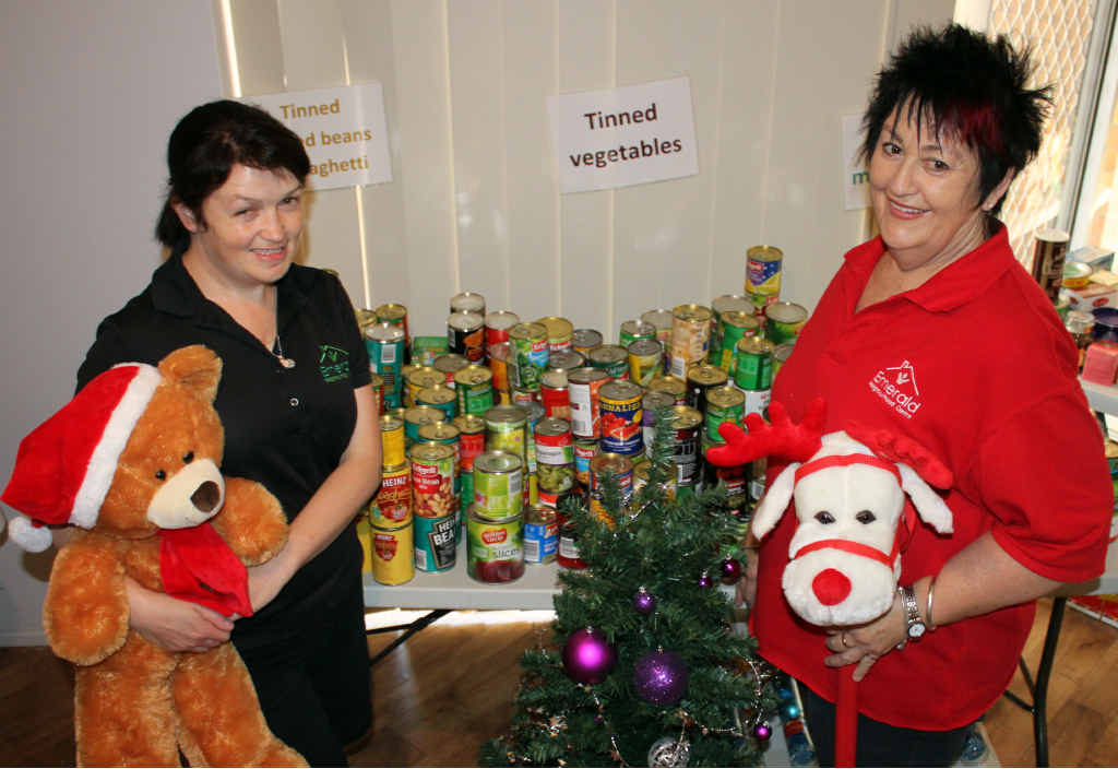 HERE TO HELP: Emerald Neighbourhood Centre's Sherie McDonald and Margaret Boland have been busy with this year's Linking Alms Christmas appeal.