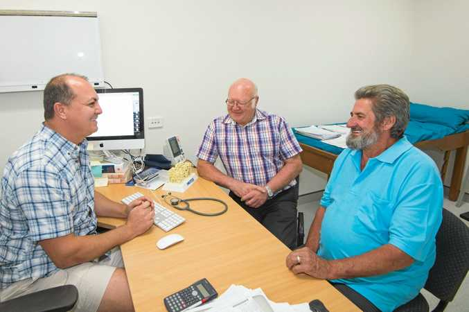 RESEARCH: Endocrinologist Dr Sultan Linjawi with patients Garry Suter and Allan Cecil.