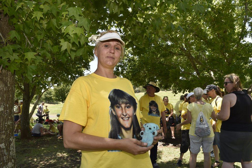 Linda Mason, the sister of murdered teenager Annette Jane Mason, holding one of her sister's teddies.