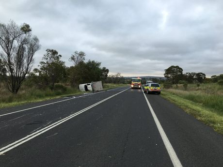 Single vehicle car accident near Pittsworth.