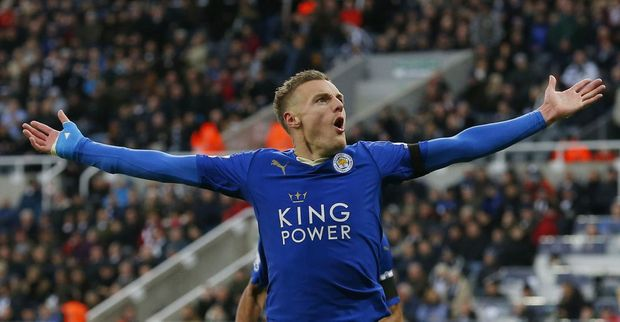 Leicester City's English striker Jamie Vardy celebrates after scoring his team's first goal at St James' Park. Photo: AFP PHOTO / LINDSEY PARNABY