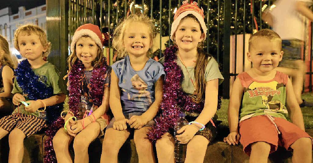 FESTIVE SPIRIT: Noah Kraeft, Daisy Kraeft, Alexis Scott, Shakira Kraeft and Nathaniel Scott at the CBD Christmas Fair.