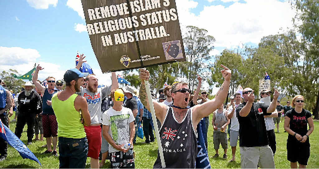 VOCAL: Reclaim Australia protesters march outside Parliament House in Canberra.