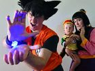 COS WE CAN: Matt, Jess and Loki Foulds as Goku, Chi Chi and Gohan from Dragon Ball, at USC for the Epic Diem Expo, the Sunshine Coast's pop culture event.