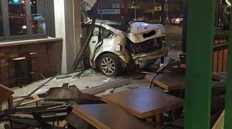 The inside of the Zambrero Mackay CBD restaurant after a car crashed into it.