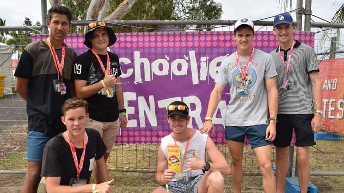 PLAY TIME: Mackay schoolies Patrick Smallwood, Regan Head, Jacob Bareadsell, Darcey O'Keefe, Lachlan Webb and Connor Quinn ready for action outside Schoolies Central on Saturday afternoon. Photo Rory Sheavils / The Guardian