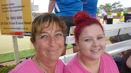 Mother and daughter team Raelene and Amber Davis represented the Woodburn Rural Fire Service at Sunday's Mid-Richmond emergency services social bowls day.Photo Jamie Brown / Richmond River Express