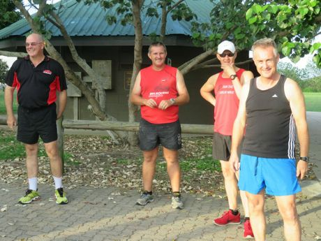 (left to right) Paul Tilse, Shane Barben, Greg Coulson and Simon Henderson get excited about the 8km Town Beach Team race Photo: Contributed