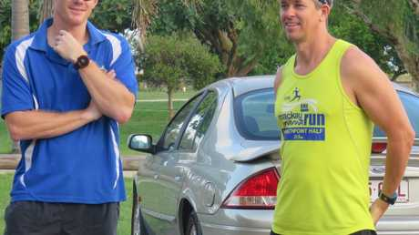 Tim Caddy (left) and Russell Van Den Bosch were two of the fastest runners in Team One for the 8km Town Beach 8km Tag race. Photo: Contributed