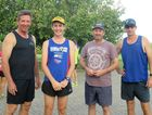 (left to right) John Rodden, Jamie Sanders, Steve Sanders and Ross Connor look forward to the 8km Town Beach Team Tag Along. Photo: Contributed