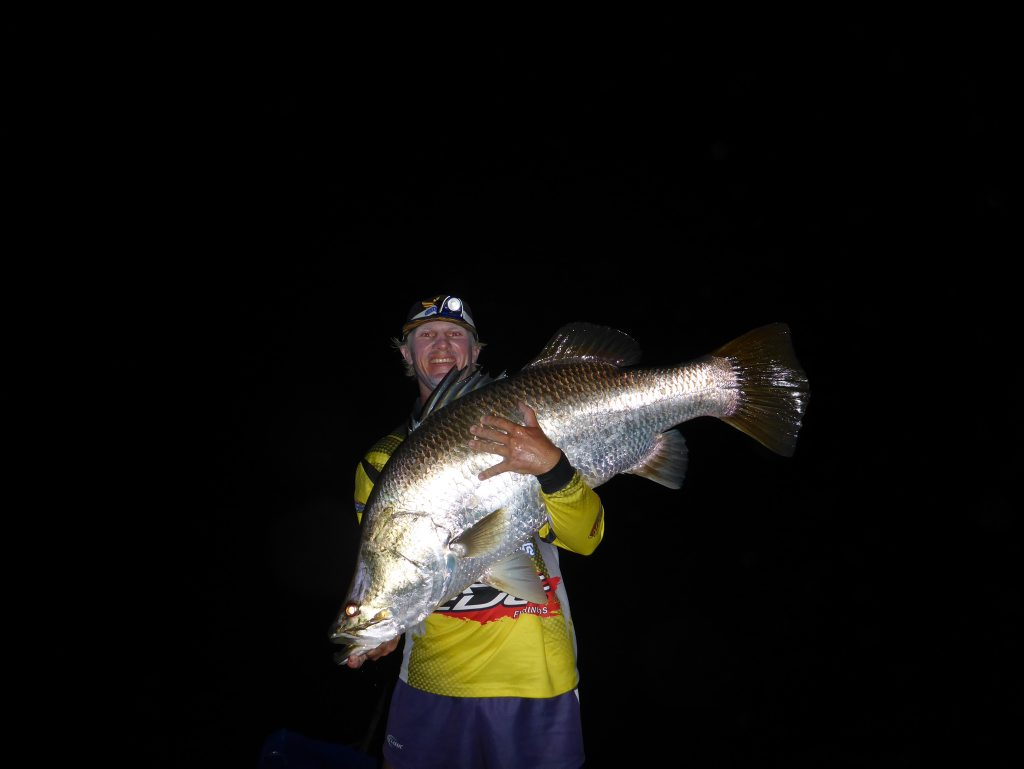 Dustin Sippel with the event Austackle Big Barra which measured 121cm.