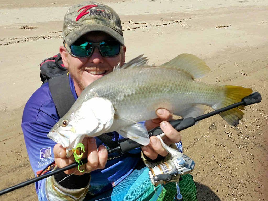 NICE: Lloyd Kerr caught this barramundi last month. Note, the season is closed.