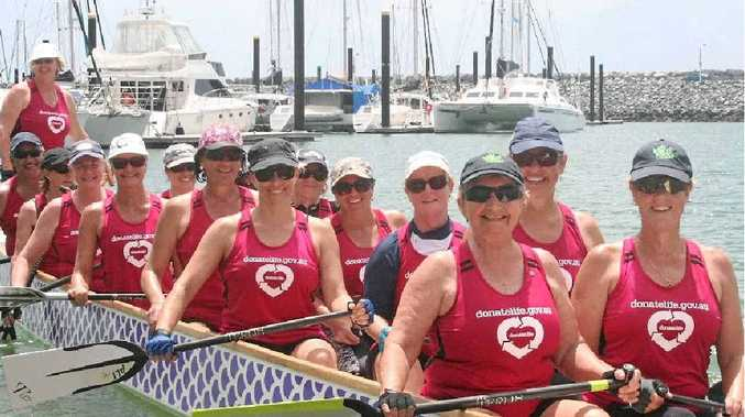 GOOD CAUSE: Members of the Mackay Dragon Boat Club with their new shirts.