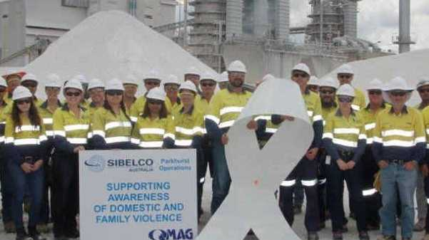 GREAT SUPPORT: Sibelco staff, at their North Rockhampton site, are proud to show their support and raise awareness for White Ribbon Day which is tomorrow.