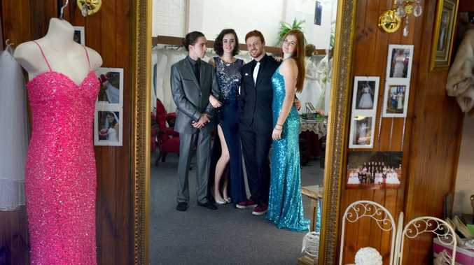 Richmond River High School students, from left Bodhi Towers, Teshan Joy, Ryley Adams, and Shannon Richardson, trying on outfits at Mary Vidler Bridal in Lismore for their formal. Photo Cathy Adams / The Northern Star
