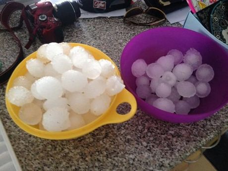 Vicki Bush collected this hailstones in Stanthorpe.