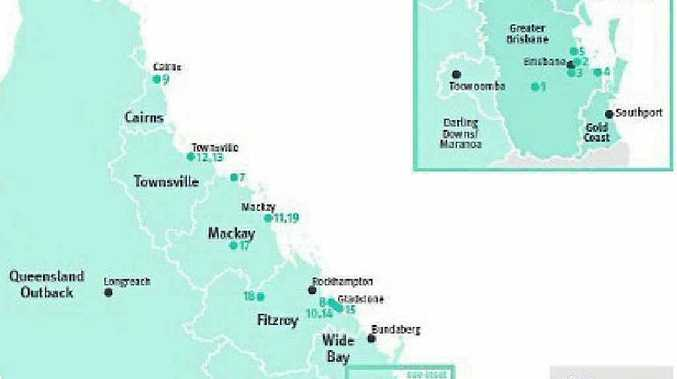 Gladstone has four projects and Mackay two on this map of cross-government priority projects in the Draft State Infrastructure Plan. There are very few projects listed for Rockhampton – yet.