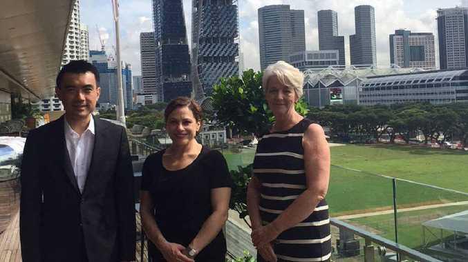 PRODUCTIVE VISIT: Eugene Tan (director, National Gallery Singapore), Deputy Premier Jackie Trad and Rockhampton Regional Mayor Margaret Strelow meet in Singapore..