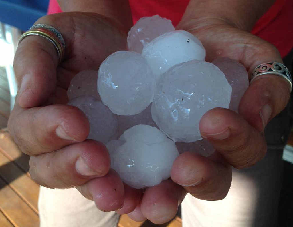 Giulia Bonfanti snapped this shot of golf ball-sized hail that fell near Stanthorpe.