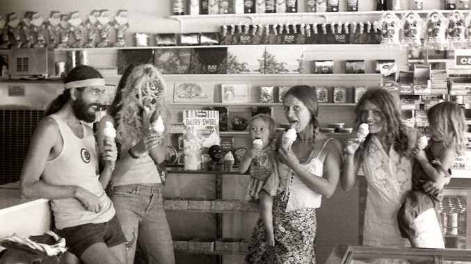 Mullumbimby locals enjoying an ice cream at the Empire Cafe in the 1970s.